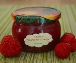 Erdbeer-Rhabarber-Himbeer-Konfitüre mit Vanille und Pernod