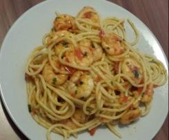 Spaghetti mit Chiligarnelen