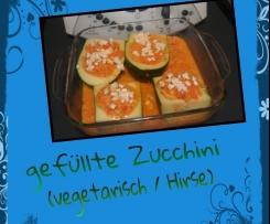 Variation von Zucchinischiffchen mit Bulgur / vegetarisch gefüllte Zucchini - Hirsecurry