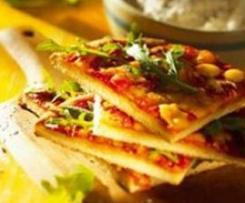 Tomaten-Rucola-Pizza