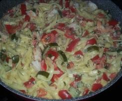 Spaghetti mit Garnelen und Paprika-Gurken-Ragout  von FINESSEN 4/2015