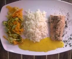 Lachs mit Mangosauce, Reis und Gemüse(all-in-one)