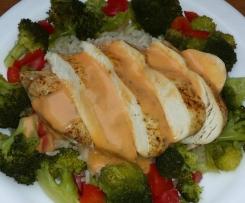 Hähnchenbrust mit Brokkoli, Paprika und Reis - all in one
