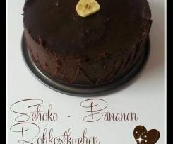 Bananen-Schoko Rohkostkuchen (ohne backen, Eifrei, vegan)