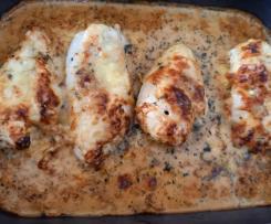 Sahne-Hähnchen mit Mozzarella, getrockneten Tomaten und Basilikum (WW geeignet)