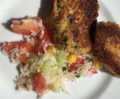 Blumenkohl- Parmesan- Nuggets mit Reissalat