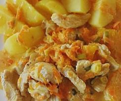 Putengeschnetzeltes in fruchtige Karotten-Orangen-Soße