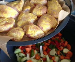 Hähnchenbrustfilet m. Reis & Gemüse