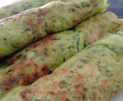 Wildkräuter-Pfannkuchen / Kräuter-Pfannkuchen mit Schinken
