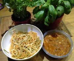 Spaghetti mit Tomaten-Champignons-Avocado-Schinkensauce