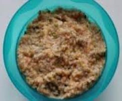 Zucchini-Tomaten-Brei mit Reis und Rindfleisch