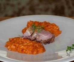 Mediterranes Paprika-Risotto mit Schweinefilet