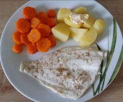 Schollenfilet mit Kartoffeln und Möhren