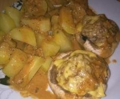 All in one Champignons gefüllt mit Hackfleisch , Kartoffeln und Soße Gefüllte Pilze