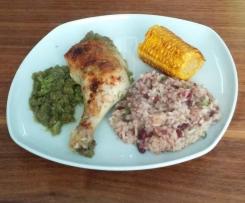 Jamaika-Hähnchen mit Bohnenreis und Mais