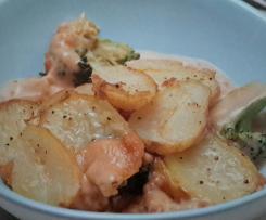 Kartoffel-Brokkoli-Auflauf mit Erdnüssen (vegan)