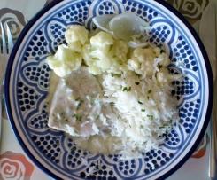 Putenfilet mit Blumenkohl und Gorgonzola-Soße