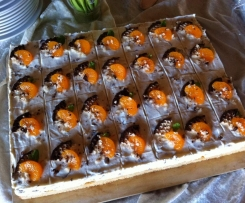 Variation v. Schokokusstorte mit Mandarinen (Blechkuchen)