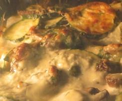 Lasagne mit Kräutern, Pilzen und Zucchini