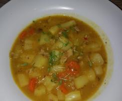 Spargel Curry Suppe mit geräuchertem Fisch