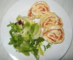 Pfannkuchen mit Lachs (fettfrei im Backofen)