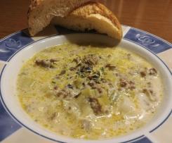 Käse Lauch Suppe mit Hackfleisch alla Mona
