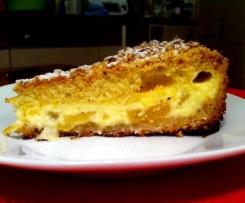 Apfelkuchen mit Pudding und Quark