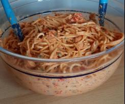 Spaghettisalat Omas Rezept, auch vegetarisch möglich