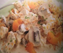 Fruchtiger Hähnchentopf mit Reis