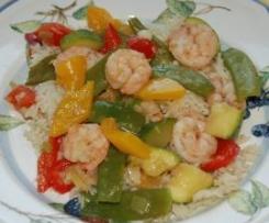 Variation von Chinesisches All-In-Menue Garnelen mit Gemüse und Reis, low fat