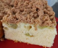 Saftiger (samtiger) Rhabarberkuchen mit Streuseln