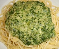Spaghetti mit Rahmspinat
