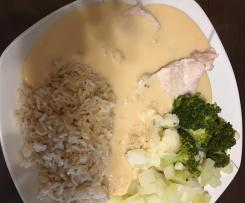 Puten- / Hähnchenschnitzel auf Gemüse und Reis mit heller (Weißwein) Soße