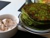 Bärlauch-Pfannkuchen mit Ziegenkäse-Dip