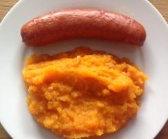 Möhren-Kartoffelgemüse mit Speckwürfel und Mettenden