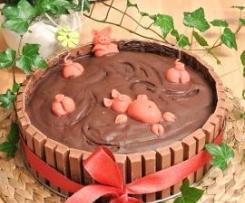 Variation von Nutellakuchen/Schweinchen im Faß