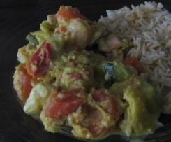 Fischfrikassee mit Gemüse in Curry/ Kokos  ( all-in-one )