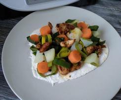 Mozzarellaboden mit Gemüse Hänchenfleisch ( Low Carb )