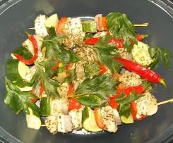 Hähnchenspieße mit Reis und Currysoße