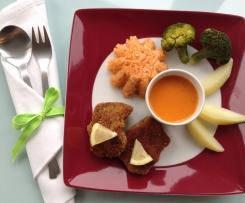 Variation von Gemüseplatte - mit Tomatenreis & Hähnchenbrust- oder Fischfilet