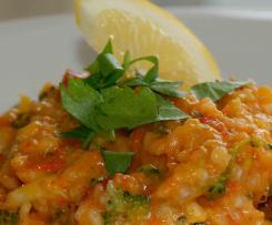 Spanisches Paprika-Risotto mit Chorizo und Garnelen