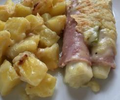 Gratinierter Lauch (Porree) mit Schinken und Kartoffeln
