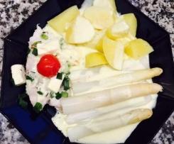 Dorschfilets mit Spargel und Kartoffeln
