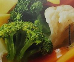Hähnchen mit Gemüseplatte und heller Sauce