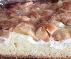 Apfelkuchen mit Pudding und Mandelkruste