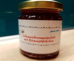Johannisbeermarmelade mit Birnenstückchen