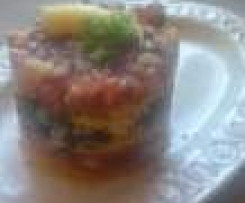 Polentaturm mit gebratenen Auberginen