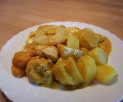 Curry-Hähnchen mit Mozzarella