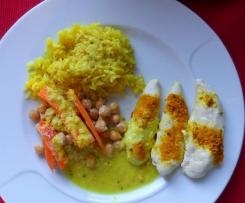 All-in-one: Kichererbsen-Karotten-Curry mit Hühnchen und Reis