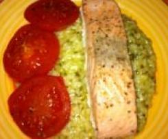 Risotto mit Lachs und Tomaten